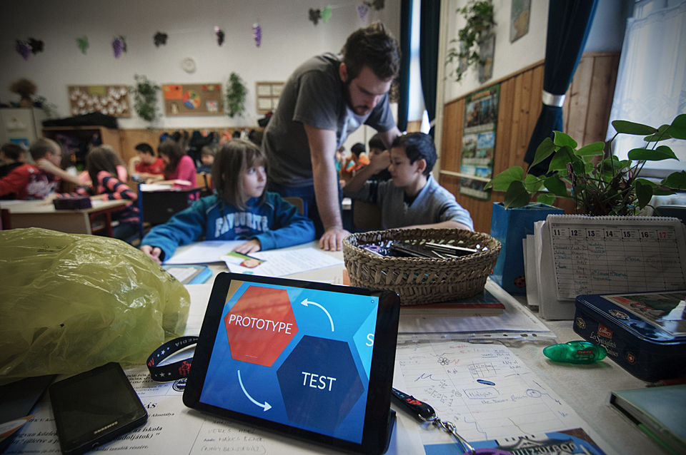 iPad displaying Prototype and Test graphic in classroom