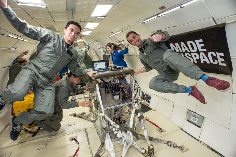 Made In Space team on zero g flight
